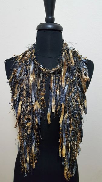 Black Gold Fringed Scarf