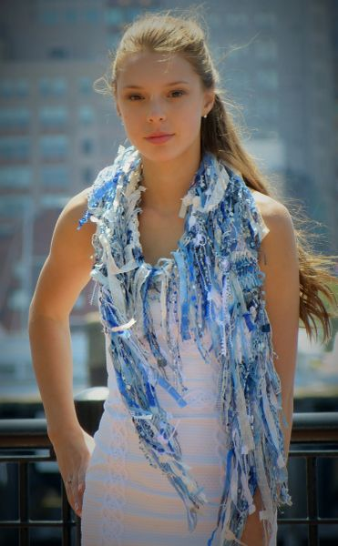 White and Blue Fantasy Scarf