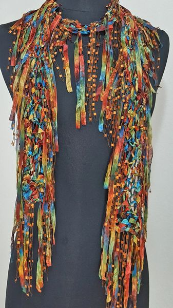 Teal Orange Multicolor Fringed Scarf