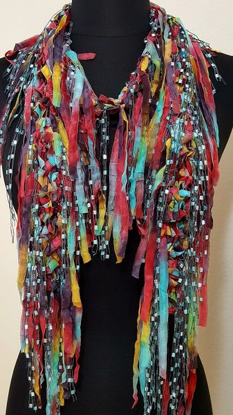 Rasberry Jade Fringed Scarf