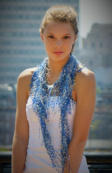 Blue White Lash scarf