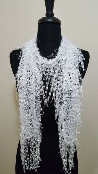 White Fluffy Fringed Scarf