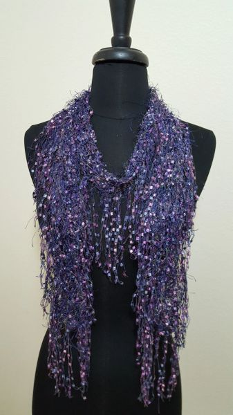 Purple Fringed Scarf