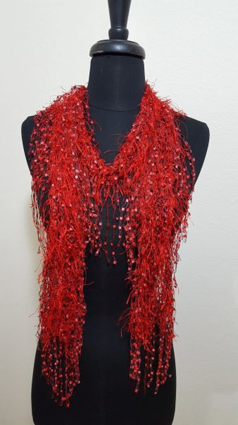 Red Fringed Scarf