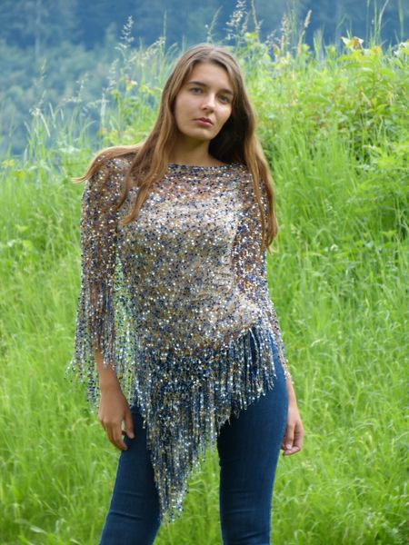 Blue Silver Gold Poncho