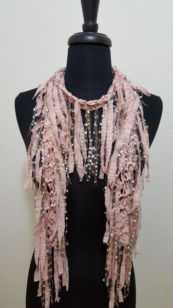 Dusty Rose Fringed Scarf