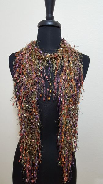 Fall Colors Fluffy Fringed Scarf