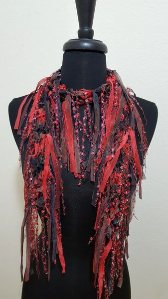 Red Brown Fringed Scarf