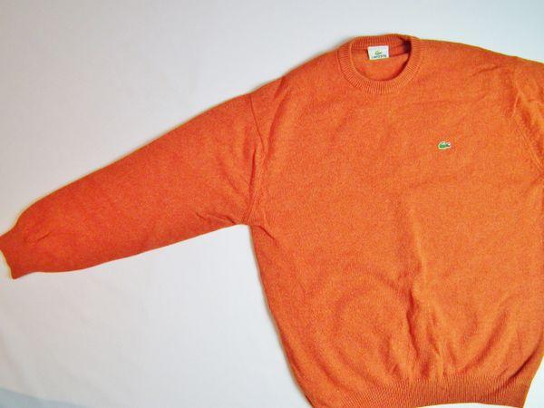 188ef13c2951 true vintage lacoste jumper orange quality wool size UK L