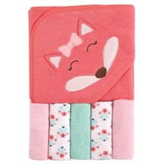 LUVABLE FRIENDS HOODED TOWEL AND WASHCLOTHS SET - GIRL FOX