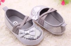 Baby Girls Silver Sequins Strap Shoes