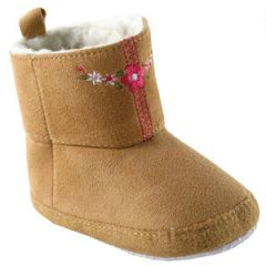 LUVABLE FRIENDS EMBROIDERED SUEDE BABY BOOTS, BROWN