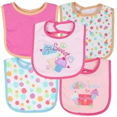 Little Beginnings Girls 5-Pack Baby Bibs