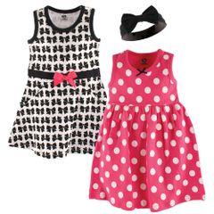 HUDSON BABY 2 DRESS & HEADBAND SET - BLACK BOWS