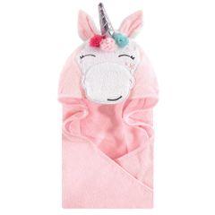 HUDSON BABY ANIMAL FACE HOODED TOWEL- WHIMSICAL UNICORN