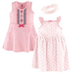 HUDSON BABY 2 DRESS & HEADBAND SET - AZTEC