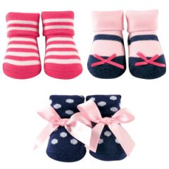 Little Shoe Socks 3-Piece Gift Set, Dark Pink & Navy