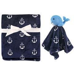 HUDSON BABY PLUSH BLANKET & SECURITY TOY BLANKET SET - WHALE
