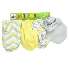 Little Beginnings 4 Pack Baby Mittens - Neutral