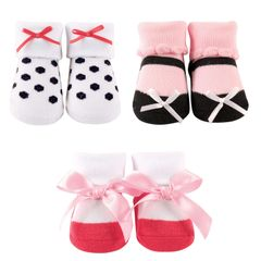 LITTLE SHOE SOCKS 3-PIECE GIFT SET, CORAL/BLACK