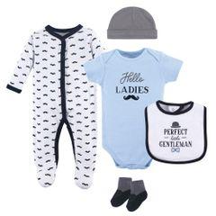 HUDSON BABY BOYS 5 PIECE SLEEPER SET - LITTLE GENTLEMAN