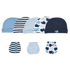 Luvable Friends 5 Caps & 3 Scratch Mittens Set, Whale