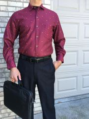 Burgundy with Polka Dots- UnTuck Fit, Office, Work, Play