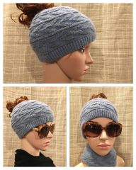 Fleece Lined Headband Charcoal Blue