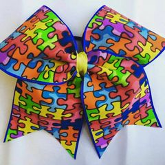 CHEER BOW - AUTISM AWARENESS
