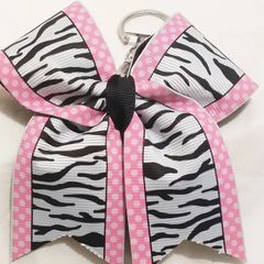 CHEER BOW KEYCHAIN - ZEBRA with PINK SWISS BORDER