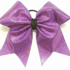CHEER BOW - PURPLE HOLOGRAM CHEER BOW (black center)
