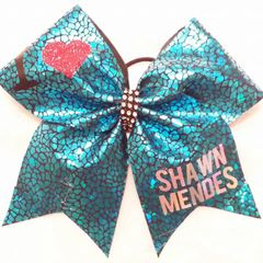 I LOVE SHAWN MENDES CHEER BOW - TEAL SHATTERED MOSAIC