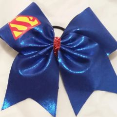 CHEER BOW - SUPERMAN PLAIN RED/YELLOW LOGO on BLUE METALLIC
