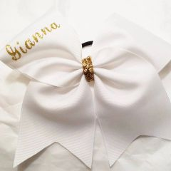 CHEER BOW - WHITE PLAIN GROSGRAIN CHEER BOW with GOLD GLITTER NAME & CENTER (you can change colors when ordering)