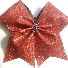 CHEER BOW - RED GLITTER FULL with Rhinestone center - ( Valentines Day Christmas Awareness )