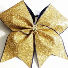 CHEER BOW - GOLD GLITTER with NAVY EDGE - gold rhinestone center