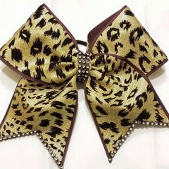 CHEER BOW - YOUR BASE COLOR / GOLD BLACK CHEETAH Animal Print Black Rhinestone edging & center