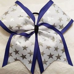 CHEER BOW - WHITE with SILVER STARS ROYAL BLUE EDGING