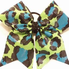 LIME GREEN BLUE & BLACK FULL CHEER BOW