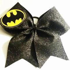CHEER BOW - BATMAN ( Black glitter)