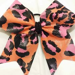CHEER BOW - ORANGE PINK & BLACK CHEETAH FULL