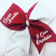 DEAR SANTA I Can Explain Glitter CHEER BOW