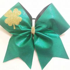 CHEER BOW - GOLD GLITTER CLOVER on GREEN METALLIC
