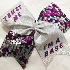 CHEER BOW - Trust me I'm a base purple dangle sequins cheer bow