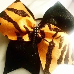 CHEER BOW - ORANGE ANIMAL PRINT / BLACK GLITTER