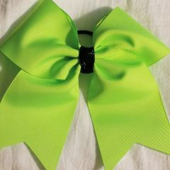 NEON GREEN PLAIN GROSGRAIN CHEER BOW - PRACTICE BOWS