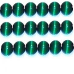 CATS EYE GLASS BEADS 8mm - FOREST GREEN