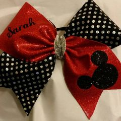 MICKEY / MINNIE HEAD with NAME - RED METALLIC / BLACK SILVER POLKADOTS