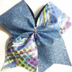 CHEER BOW - Blue or Purple Glitter / Blue Purple Lime Silver Print