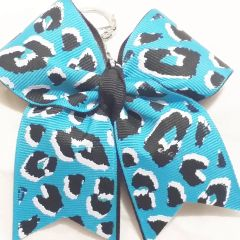 CHEER BOW KEYCHAIN - BLUE WHITE & BLACK CHEETAH